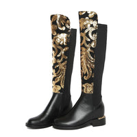 Gold Embroidery Black Genuine Leather Lined Riding Boots - The Urban Doll