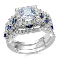 2.2 Ct CZ 3 Piece Solid 925 Sterling Silver Halo Ring Set with Blue Side Stones - The Urban Doll