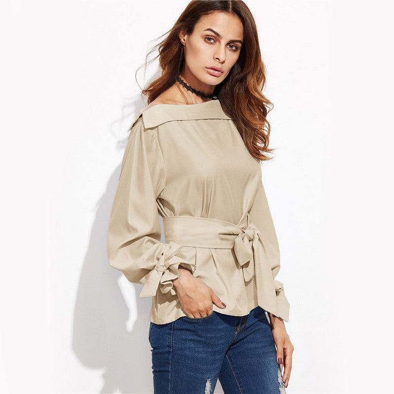 Belted Khaki Blouse - The Urban Doll