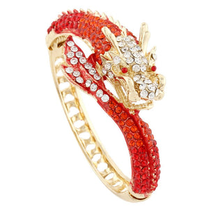 Plated Austrian Crystal Dragon Bangle (6 Colors) - The Urban Doll