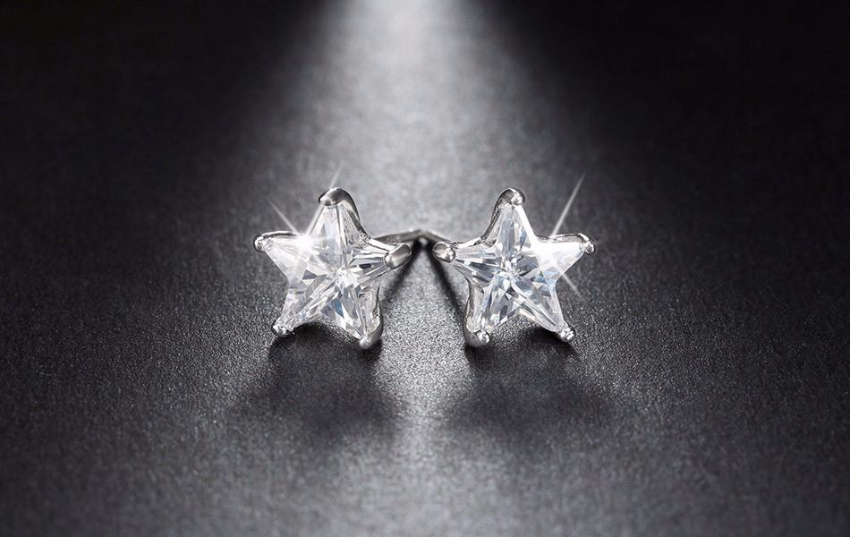 Pure 925 Sterling Silver and 0.8ct AAA Austrian Crystal Star Stud Earrings - The Urban Doll