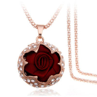 Rose Crystal Pendant Necklace - The Urban Doll