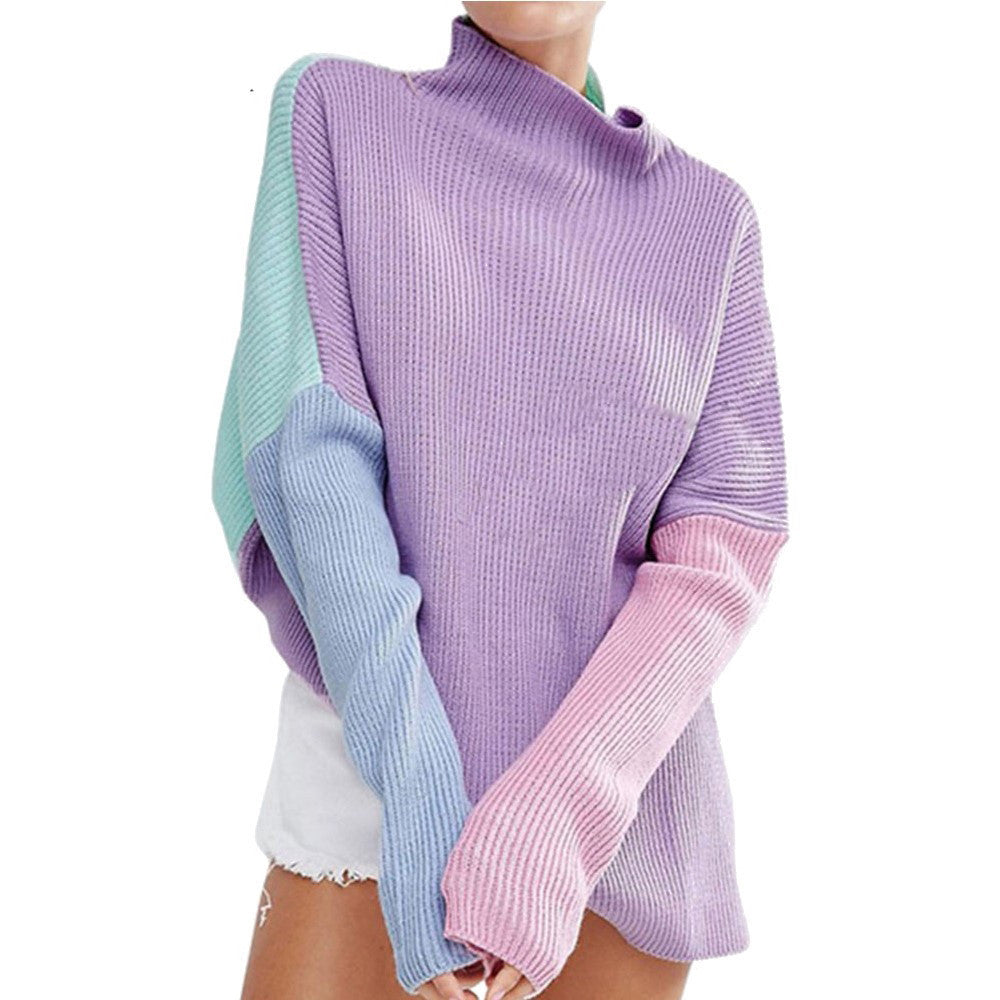 Pastel Patchwork Side Split Pullover Sweater - The Urban Doll