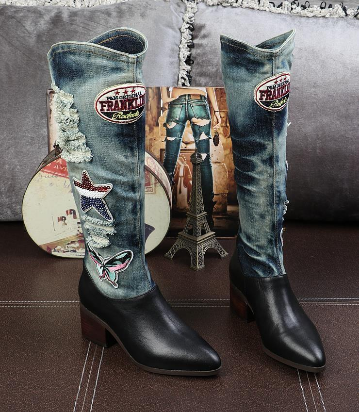 Urban Cowgirl Denim and Leather Boots - The Urban Doll