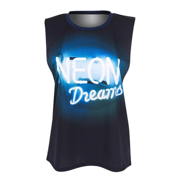 Neon Dreams Open Sleeve Tank - The Urban Doll