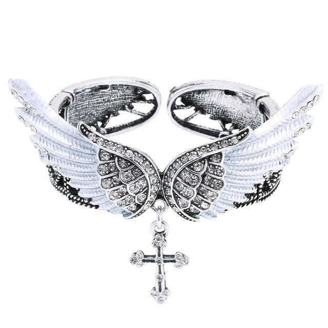wings cross bracelet