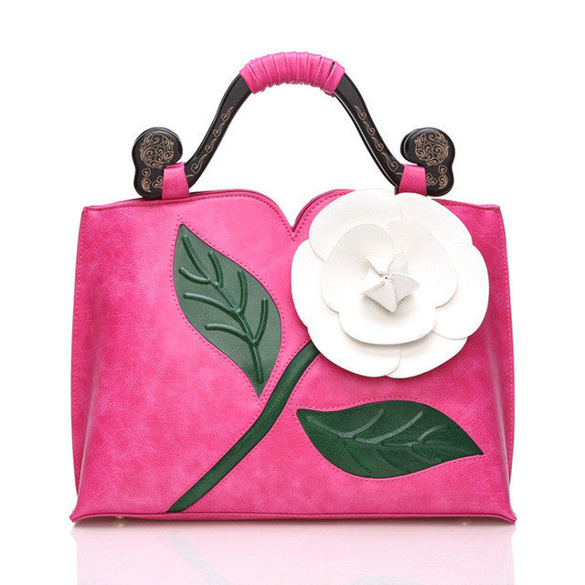 Big Rose Leather Handbag (7 Colors) - The Urban Doll
