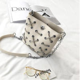 Crossed Chain Bucket Handbag (2 Colors) - The Urban Doll