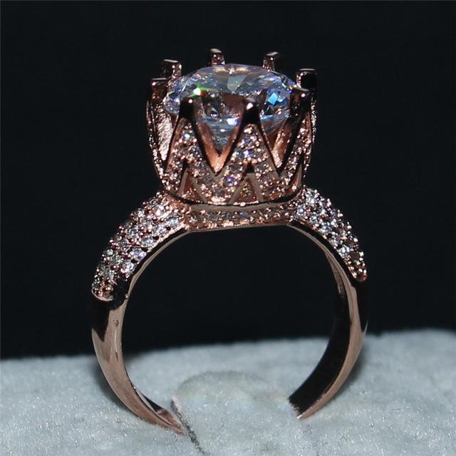 925 Sterling Silver and Rose Gold AAAAA CZ Crown Ring - The Urban Doll