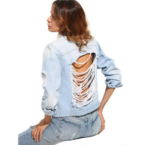 Light Wash Distressed Denim Jacket - The Urban Doll