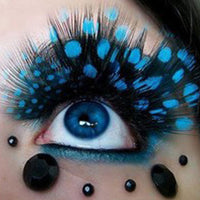 Blue Polka Dot Feather False Eyelashes (2 Pairs) - The Urban Doll