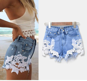Denim and Lace Boyfriend Shorts - The Urban Doll
