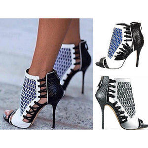Netted Open Toe Heels (2 Colors) - The Urban Doll