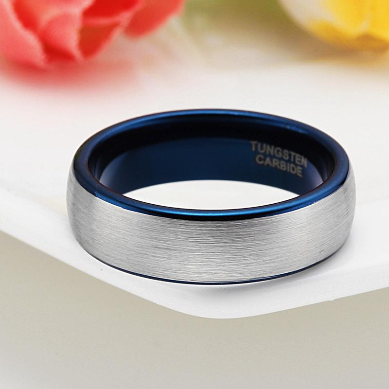 Silver Brush Blue Inlay Tungsten Carbide Men's Ring - The Urban Doll