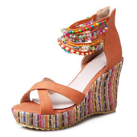 Bohemian Wedge Sandals (4 Varieties) - The Urban Doll