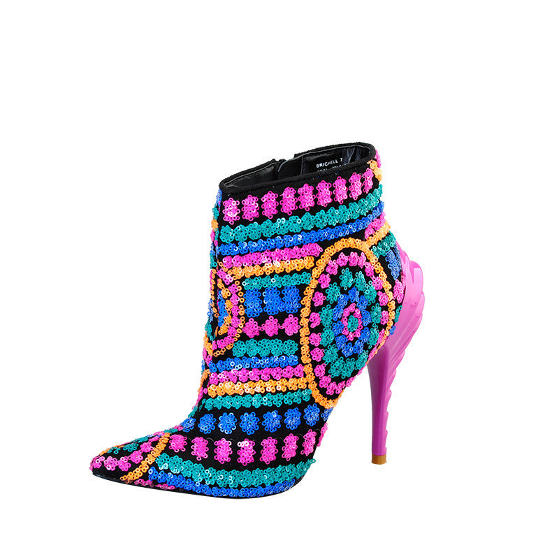 Fuchsia Bling Runway Booties - The Urban Doll