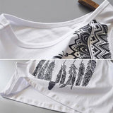 Boho Native Feather Print Sleeveless Crop Top - The Urban Doll