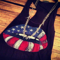 American Flag Lips Racerback Tank - The Urban Doll