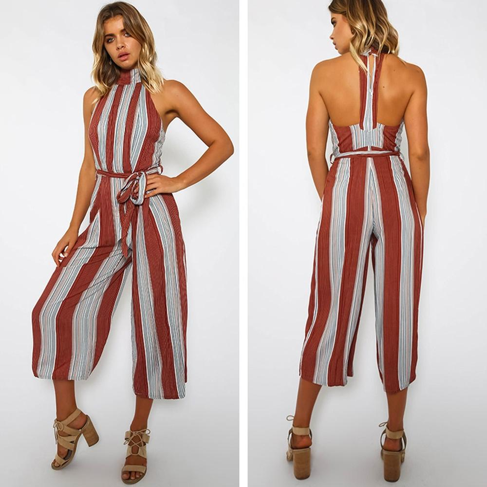 Sleeveless Vertical Striped Linen Jumpsuit - The Urban Doll