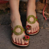 Vintage Floral Leather Wedge Sandals - The Urban Doll
