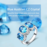 Three Stone Blue AAA Austrian Crystal Ring - The Urban Doll