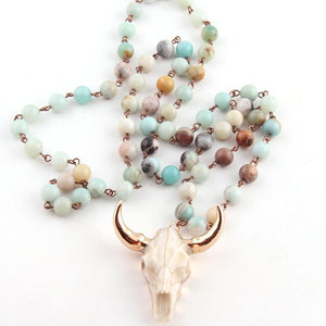 Amazonite Stones Southwest Bull Skull Pendant Necklace - The Urban Doll