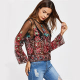 Vintage Boho Embroidery Mesh Blouse - The Urban Doll