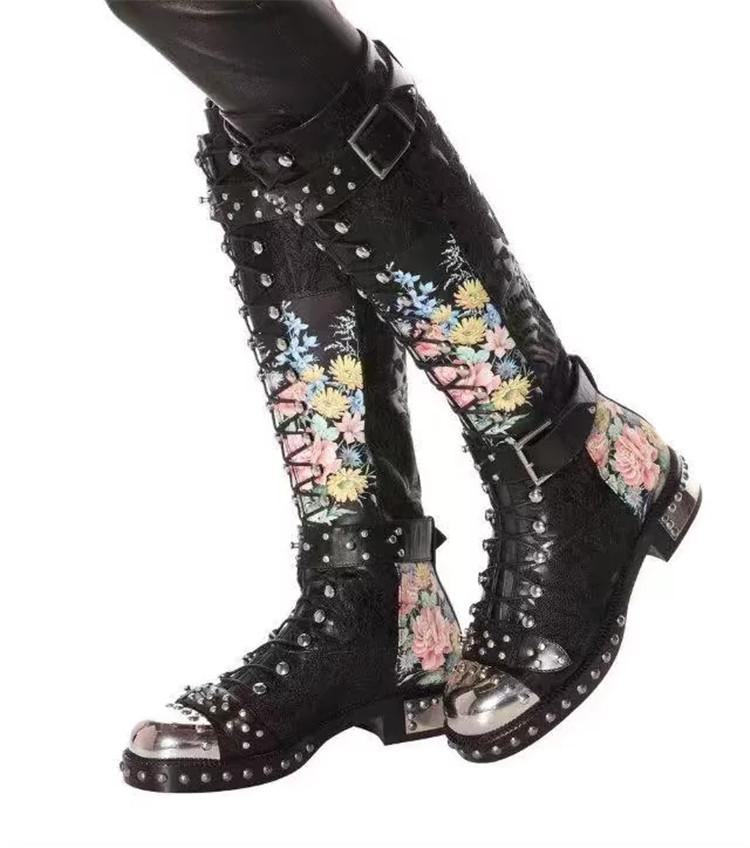Punk Floral Motorcycle Boots - The Urban Doll