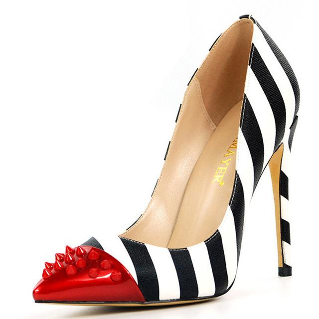 Rivet Red Toe Zebra Pumps - The Urban Doll