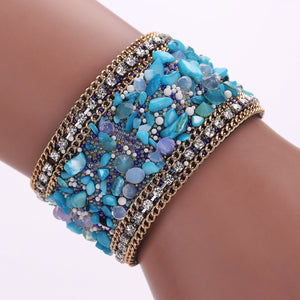 Stones and Leather Bangle Bracelet with Magnetic Clasp - The Urban Doll