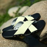 Crossed Genuine Leather Mens Slide Sandals - The Urban Doll