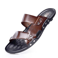 Genuine Leather Mens Double Strap Sandals - The Urban Doll
