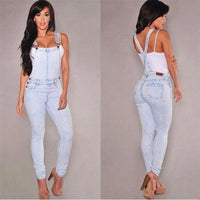 Washed Denim Casual Overalls Jumpsuit - The Urban Doll