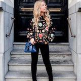 Cozy Knit Floral Embroidered Pullover Sweater - The Urban Doll