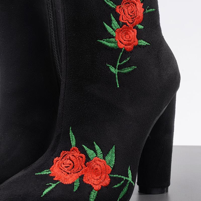 e65a5f24e07f Rose Embroidered Stretch Ankle Boots