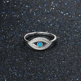 Solid 925 Sterling Silver and Blue Opal Evil Eye Ring