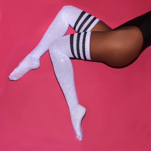a6fcf899d Cable Knit Diamond Sparkle Thigh-High Socks