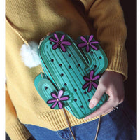 Cactus Embroidered Flower Purse - The Urban Doll
