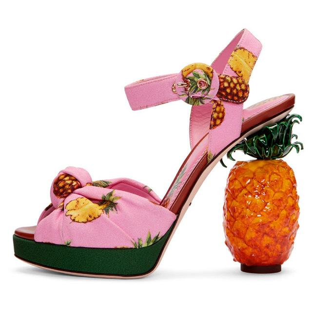 Pineapple Express Platform High Heel Sandals - The Urban Doll