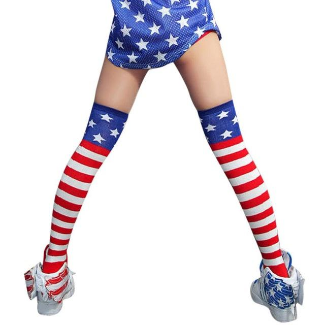 American Flag Over The Knee Stockings - The Urban Doll