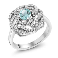 Sterling Silver and Blue Topaz Flower Ring - The Urban Doll