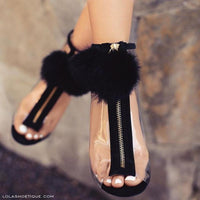 Transparent Pompom Summer Peep Toe Booties - The Urban Doll