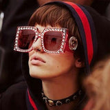 Oversized Square Framed Crystal Sunglasses - The Urban Doll