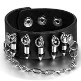 Bullet Chain Leather Cuff Bracelet - The Urban Doll