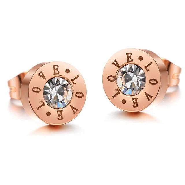Rose Gold Crystal Love Stud Earrings - The Urban Doll