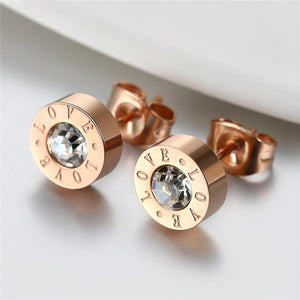Rose Gold Crystal Love Stud Earrings