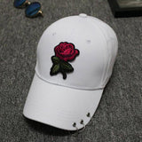 Metal Rings Rose Embroidered Hat - The Urban Doll