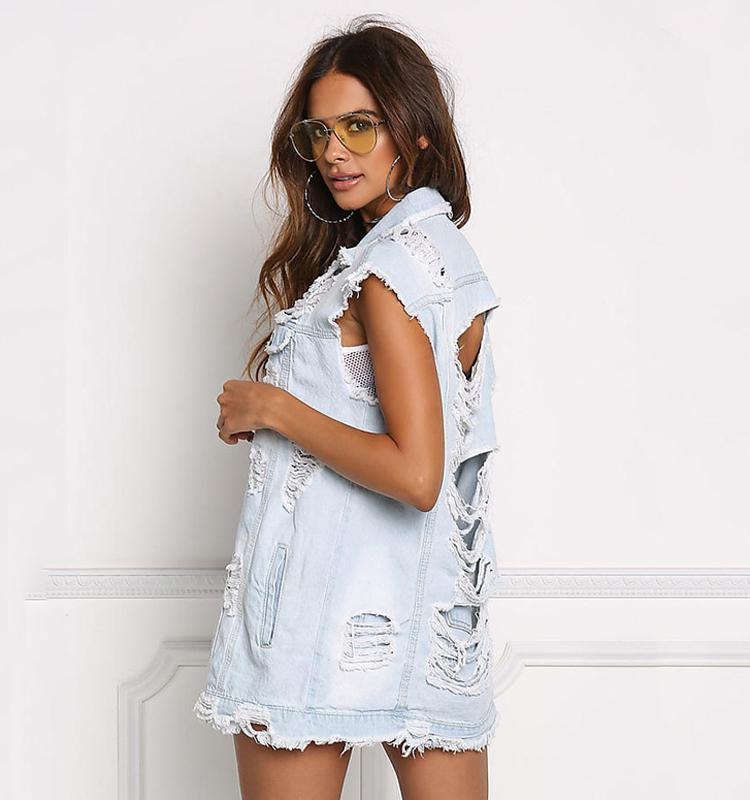 White Wash Distressed Denim Vest Jacket - The Urban Doll