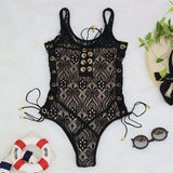 Lacy Lace Up One Piece Swimsuit - The Urban Doll