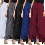 Bow Tie Ruffle Maxi Trousers Skirt (5 Colors) - The Urban Doll